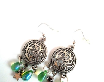 Handmade earrings with drops and Star