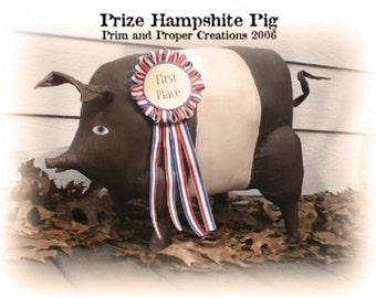 Primitive Folk Art Prize Hampshire Pig Epattern