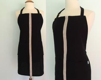 Black Apron with Gray Racing Stripe and Pockets, Linen Apron, Server Apron, Restaurant Apron, Barista Apron, Color Block, Adjustable
