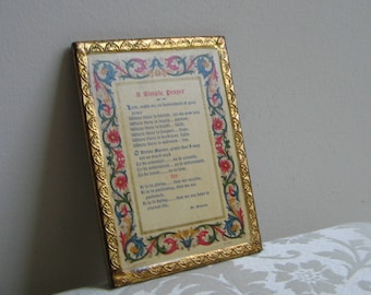 "Vintage Florentine Religious Wall Art ""A Simple Prayer"" by St. Francis, Italy"