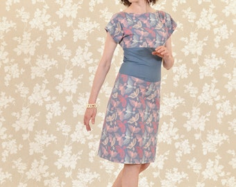 Dress Bio-Tsubaki: organic cotton, blue-grey, white, rose, birds