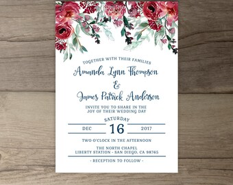 Burgundy Navy Floral Wedding Invitations • Marsala Merlot Red Green Watercolor Invites • printable