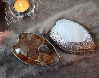 Silver Angel Faerie Offering Dish with Mystery Stones/Raven Wings Fairy Dish/Silver Feather Dish/Alter Supplies/Collectible Ceremonial Plate