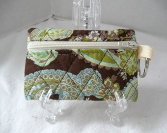 Quilted Coin Purse - Paisley Change Purse - Brown Celery - Change Purse with Keychain - Brown Paisley Earbud Case - Ready to Ship