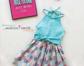 Toddler Dress, Aqua Dress, Halter Dress, Little Girl Dress, Summer Dress, Party Dress, Baby Girl Dress, Little Girl Clothes, SIZES 3/6m to 9