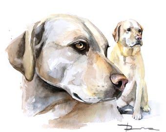 Custom pet portrait Commission two dogs Portrait two pets portrait 2 dogs portrait 2 pets portrait
