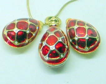 Vintage Sterling Egg Necklace And Earrings - Red Guilloche' Enamel  - Faberge - Danecraft - Clip Earrings - Easter -  Mother's Day