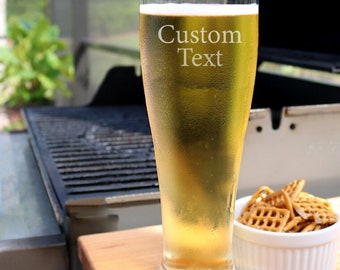 Personalized Beer Glass 16 oz, Custom Beer Glass, Gifts for Him, Groomsmen Gift, Engraved Beer Glass, Beer Mug, Groomsmen Beer Glass - B