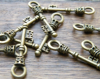 26 Skeleton Key Charms Antique Bronze Key Pendants Bulk Skeleton Keys - Christie