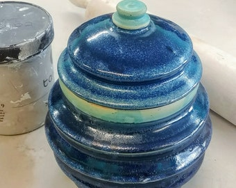 Dark blue and turquoise jar, angled ceramic hand made vessel. Food container, food safe