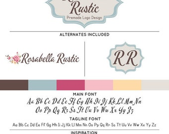Shabby Rose Logo & Watermark Premade Design - Custom Business Branding / Personal Name Text Graphics - Alternates Included