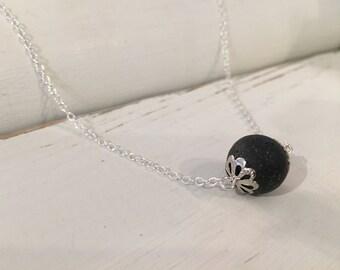Essential Oil Diffuser Black Lava Stone Aromatherapy Silver Necklace