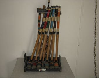 Vintage Regent croquet set with stand/holder has wear missing 2 balls wood and rubber