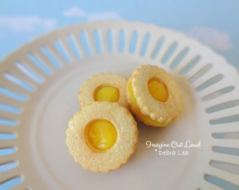 Fake Cookies Lemon Yellow Circle Sandwich Linzer Tart Set of 3
