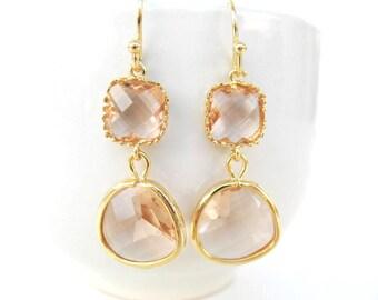 Peach earrings Champagne earrings Peach glass earring Peach bridesmaid blush nude bridesmaid jewelry peach gemstone peach stone earring