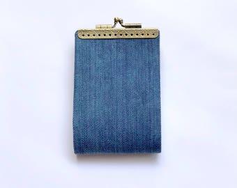 Gift for friend Denim Fabric Women Credit Card Holder Wallet, Business Card Case, Card Organizer, Kiss lock purse, Fold card case