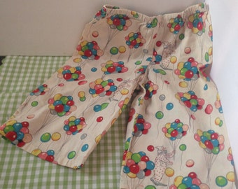 Vintage Circa 1950's Handmade Cotton Toddler Pull-Up Pants W/Elastic Waistband--Clusters Of Balloons Held By Clowns-Circus Inspired Pants