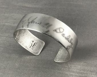 Handwriting Custom Personalized Silver Cuff Solid ~Chunky Story Cuff~ Bracelet Inscribed Engraved memorial anniversary signature romantic