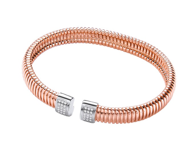 Torque Mesh Rose Gold Plated Sterling Silver Bangle With Cz Stones