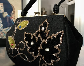 Classic Late 50s Vintage Black Felt-Wool Gold Sparkle Floral and Glass Bead Embellished Brass Ball Closure Handbag