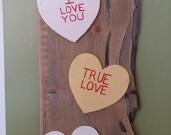 Rustic Conversation Heart Hanging Sign Valentines message hearts
