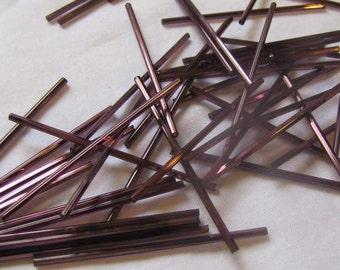60mm Bugle Beads, Purple 15 per package, Vintage Bugle Beads, glass tube beads, purple glass bugle bead
