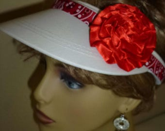 Ladies White Hand Decorated Sun Visor with Red Bandana Print Ribbon and Red Satin Flower