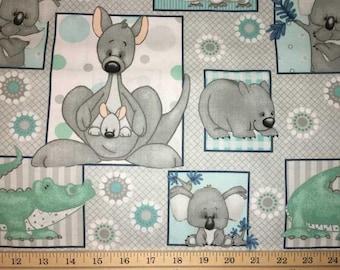 Australian Baby Animal Patch Kangaroo Koala Mint Handcrafted Valance t5/35