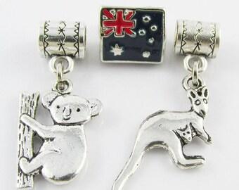 Australia Bead & Charm Gift Set Koala Kangaroo fit European Charm Bracelet