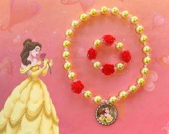 Beauty and the Beast Belle Stretch Necklace and Bracelet