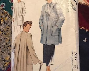 "Vintage 1940s McCall Pattern 7617 Misses Coat Size 12, Bust 30"""