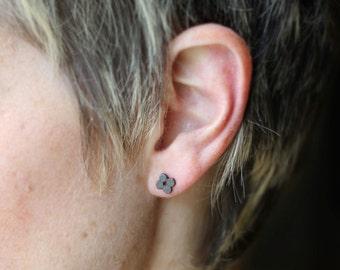 Quatrefoil Oxidized Sterling Stud Earrings- Free Shipping, black stud earrings, black post earrings, oxidized studs