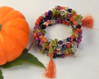 Multi Colored Frankenstein Memory Wire Halloween Bracelet (HB1)