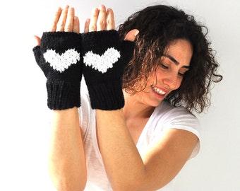 Valentines Day Fingerless Gloves - Black - White
