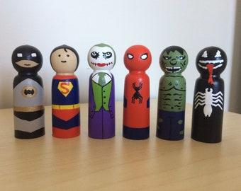 Superhero/Villain peg dolls