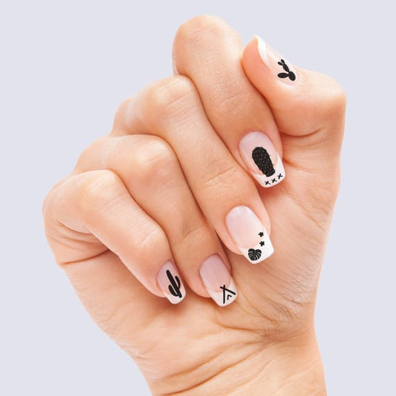 Cactus Waterslide Nail Decals: tattoo succulent plant nail art