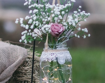2 Hanging Mason jars with garden stand for wedding aisle includes flowers and lights