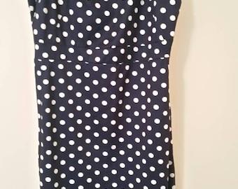 Navy blue and white polka dot dress
