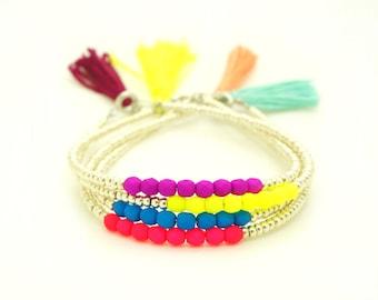 Silver Tassel Bracelet - Neon Beaded Bracelet - Pink Purple Yellow Blue - Summer Beach Boho Bracelet - Silver Seed Bead Layering Bracelet
