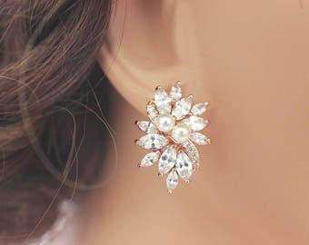 Bridesmaid earrings, Rose gold, pearl bridesmaid jewelry, rose gold bridal earrings, CZ stud earrings, crystal wedding jewelry