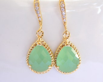 Wedding Jewelry, Mint Green Earrings, Light Green, Pistachio, Gold, Cubic Zirconia, Bridesmaid Jewelry, Bridesmaid Earrings, Dangle, Gi