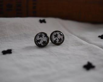 Star Cabochon Stud Earrings, Mid-Century Modern, 12 mm
