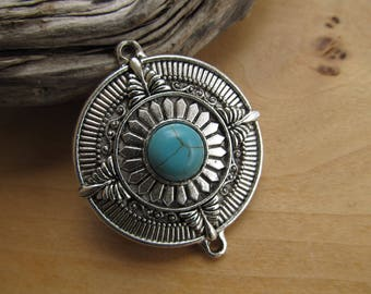 Pendant connector round shape 53 x 45 mm, antiqued, silver tone metal adorned with a cabochon stone.