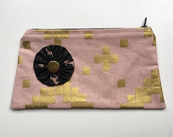 Cosmetic Bag pouch linen cotton canvas flower pink steel
