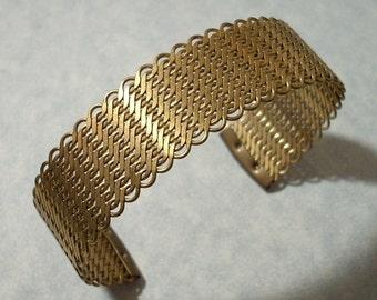 Mesh Cuff Bracelet 3/4 inch Wide Brass Mesh Woven Cuff Adjustable