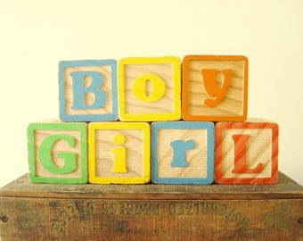 BOY or GIRL alphabet blocks, modern style & colors, vintage letter blocks, maternity photo blocks, wood blocks, gender reveal, new baby gift