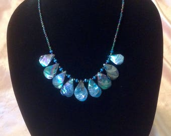 "22""-24"" rainbow abalone shell necklace with matching glass beaded chain and blue wooden beads"