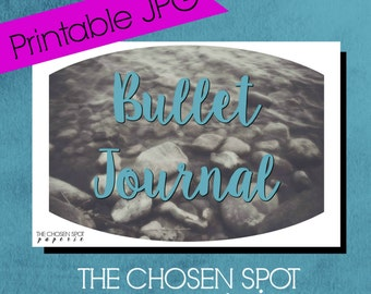 Bullet Journal Label, notebook label, bullet journal accessories, bujo sticker, lake rocks, water, printable label, blue, nature label