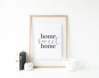 Home sweet home Minimalist Typography print