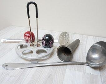 Strainer Skimmer Ladle funnel spoon egg boiler rack Soviet Vintage Russian Made in USSR Retro cutlery scoop 1970s lot set bulk of 4 metal